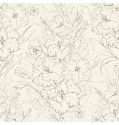 Seamless pattern beautiful fresh iris flowers vector