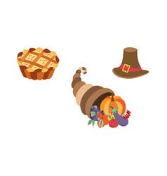 Set thanksgiving pie horn of plenty hat vector