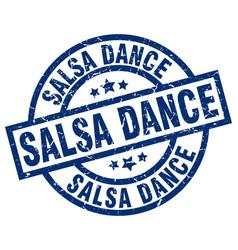 Salsa dance blue round grunge stamp vector