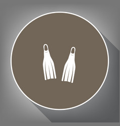 Diving flippers sign  white icon on brown vector