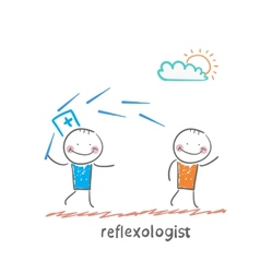 Reflexologist works with a patient with needles vector