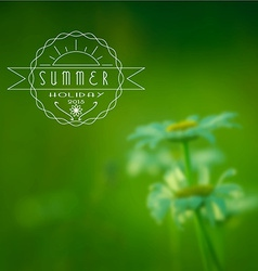 Summer holidays emblem blured flowers background vector