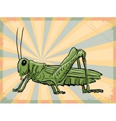 Vintage grunge background with grasshopper vector