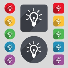 Light bulb icon sign a set of 12 colored buttons vector