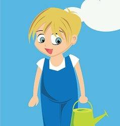 Young child with watering can vector