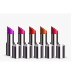 Modern lipstick set on white vector