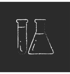 Test tubes icon drawn in chalk vector