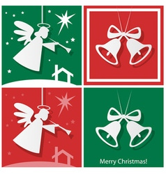 Christmas bells with angel and star vector