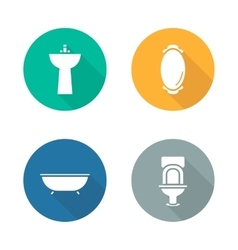 Bathroom interior flat design icons set vector