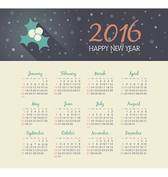Calendar 2016 year with christmas mistletoe vector