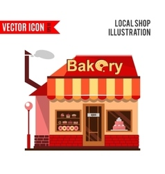 Bakery building with cakes donuts and pies vector