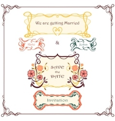 Wedding graphic set vintage border pack vector