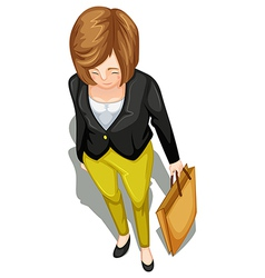 A topview of a businesswoman vector image vector image