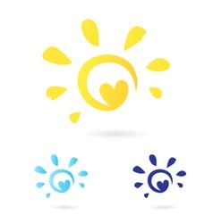 abstract sun icon vector image vector image