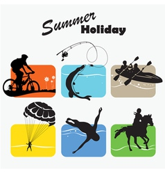 Active rest summer holiday set icon vector image
