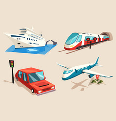Airplane and train car or automobile and train vector