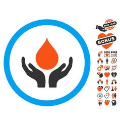 blood donation hands icon with valentine bonus vector image