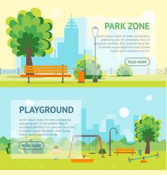 cartoon urban park and kids playground banner card vector image