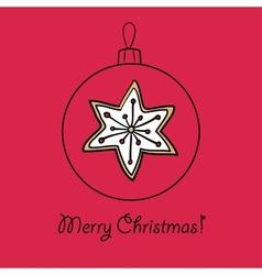 Christmas ball with star vector image