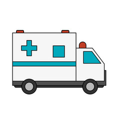 Color image cartoon ambulance truck with cross vector