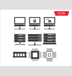 computer series icon set network connection vector image