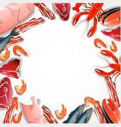 Decorative frame from meat and seafood vector