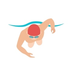 Dynamic and fit swimmer in cap breathing vector image vector image