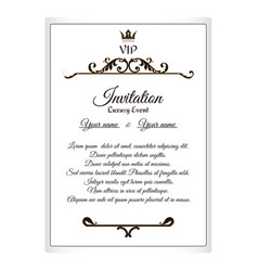 Elegant postcard for vip invitations to attach to vector