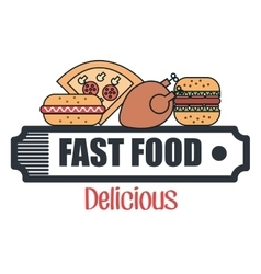 Fast food restaurant menu isolated icon vector