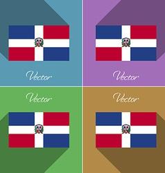 Flags dominican republic set of colors flat design vector