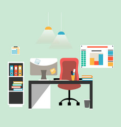 Flat design of modern workspace vector