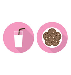 Flat set - glass of milk and cookies vector