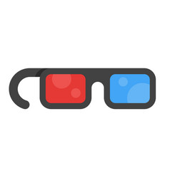 Flat style icon 3d movie glasses vector