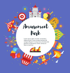 flyer design with amusement park objects vector image