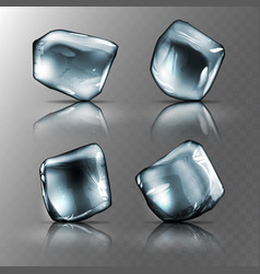 four pieces of transparent ice high detailed vector image