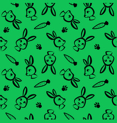funny rabbit seamless pattern in brush outline vector image vector image