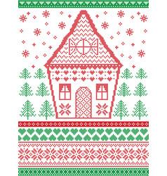 Gingerbread house christmas scandinavian pattern vector