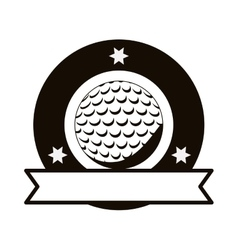 Gray scale emblem with golf ball and ribbon vector