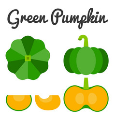 Green pumpkin set 1 vector