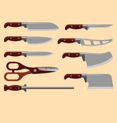 Kitchen knife weapon steel sharp dagger metal vector