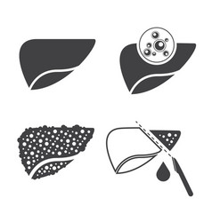 Liver cancer icons set vector