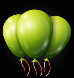 Realistic green balloons with ribbon isolated vector
