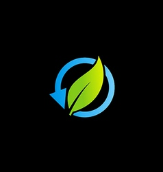 Recycle bio organic arrow leaf logo vector