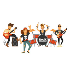 rock music band singers and musicians with musical vector image