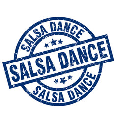 Salsa dance blue round grunge stamp vector