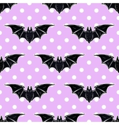 Seamless cute background with bats vector