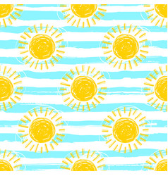 sun pattern seamless striped background hand vector image vector image