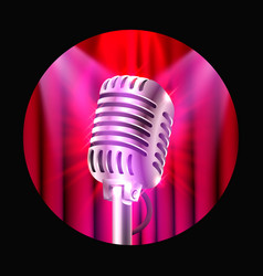 The musical show microphone on the red scene vector