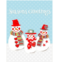 Three smiling snowmen in the snow vector