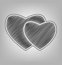 Two hearts sign pencil sketch imitation vector